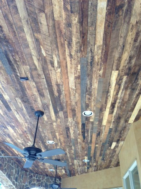 Reclaimed hardwood ceiling in Royal Oaks